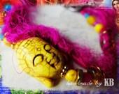 Silk Buddha Bracelet - Recycled Saris - Spiritual Buddhist Gypsy Jewelry