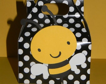Bumble Bee Favor Boxes - Black and White Polka dots