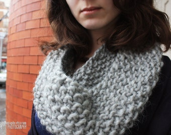 Seed Stitch Knit Cowl - Grey Wool Cowl - Choice Of Trending Colors