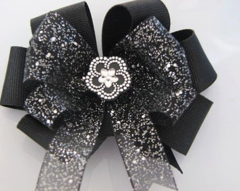 Black Sparkle Hair Bow