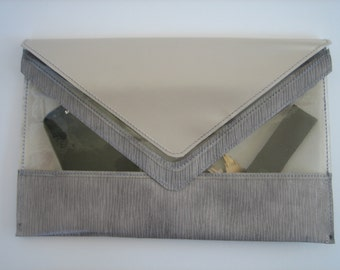 Leather & PVC Clarity  Clutch