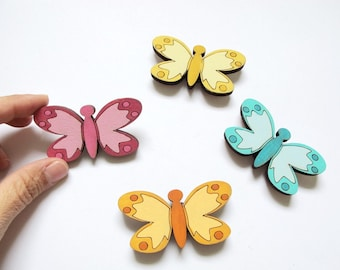 Magnets- Set of 4 wooden magnets-colorful butterflies-funny magnets for children/teens/adults/ hostess gift