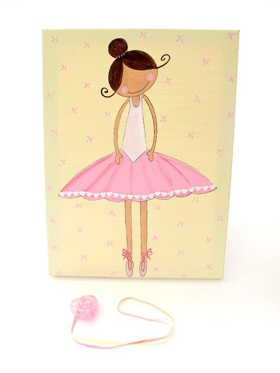 Ballerina canvas painting for girls room, ballerina wall art, girls wall art, children decor,children art, kids wall art