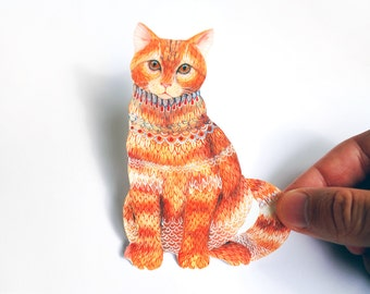 Ginger Cat pet sticker, 100% waterproof vinyl label. New on TevaGallery.