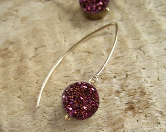 Plum Druzy Earrings Titanium Drusy Quartz 14K Gold Fill