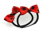 Red black polkadot mini bow ponytail rockabilly pinup cij