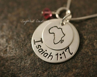 Custom Hand Stamped Sterling Silver Stacked Two Disk Africa Charm Necklace with Africa stamp