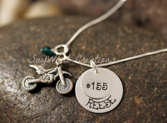 Sterling Silver Dirtbike Stacked Necklace with names and sterling silver dirt bike charm
