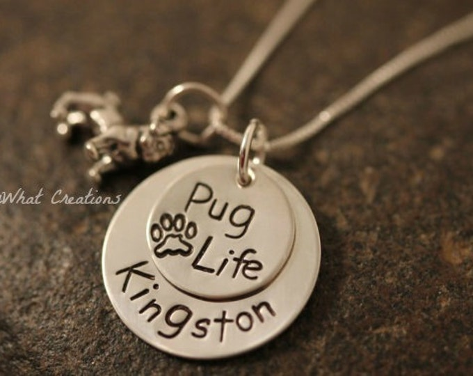 "Sterling Silver ""Pug Life"" Personalized Pug Lover Necklace for Dog Owners or Dog Remembrance"