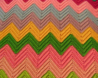 Ice Cream Chevron Afghan for a Cool Night . 54 by 68 Inches