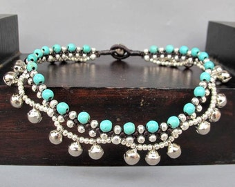Turquoise Stone Beaded Ring Ring Ankle Bracelet with Silver Plated