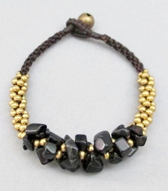 Mala Onyx Brass Bead Macrame Bracelet