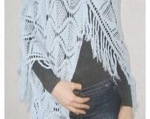 Hand crochet shawl scarf wrap gift crocheted shrug capelet wrap   Ready to Ship Crochet shawl Lace Handmade Blue