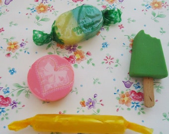 Four Sweets 80s Erasers.Vintage