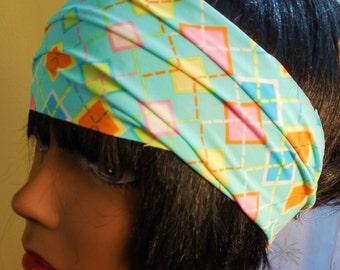 Argyle Headband, womens headband, yoga, workout apparel