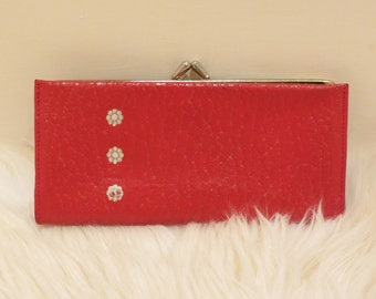 SALE Vintage Hippie Red Leather Wallet