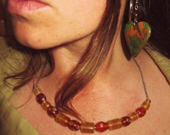 Yellow and Orange Colored Glass Bead Necklace on Chain