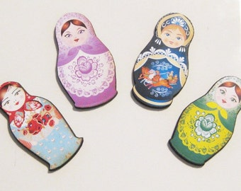 Wooden Russian Nesting Dolls Magnets