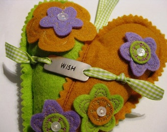 Felt Orange Green Purple Flower Heart Wish