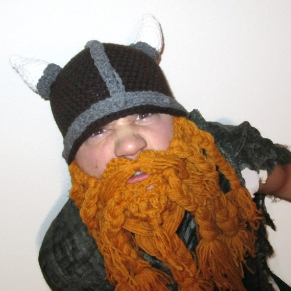 Crochet Viking Hat With Beard : Crochet Viking Hat, Crochet Beard, Bearded Beanie, Funny gift for him ...