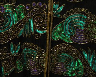 Vintage silk blue and purple sequin black jacket by Landmark medium
