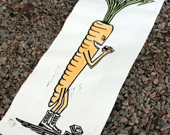 Carnivorous Carrot Linocut Print