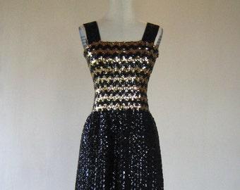 Black & Gold ZigZag Sequin Knit Tank Dress Glam