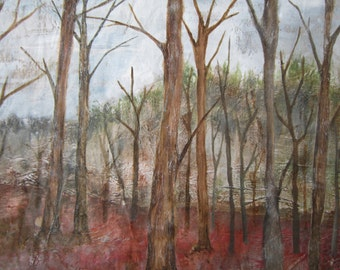 Bare Trees - Original Nature Painting - Winter Art - Forest Woodland Autumn Wild