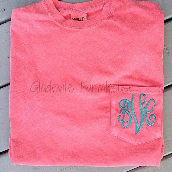 monogrammed comfort colors pocket tee by gladevillefarmhouse