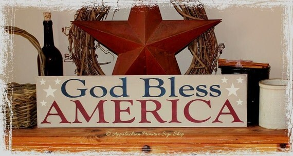 God Bless America with Stars -WOOD SIGN- Home Decor Summer Independence Day Americana Wall Hanging