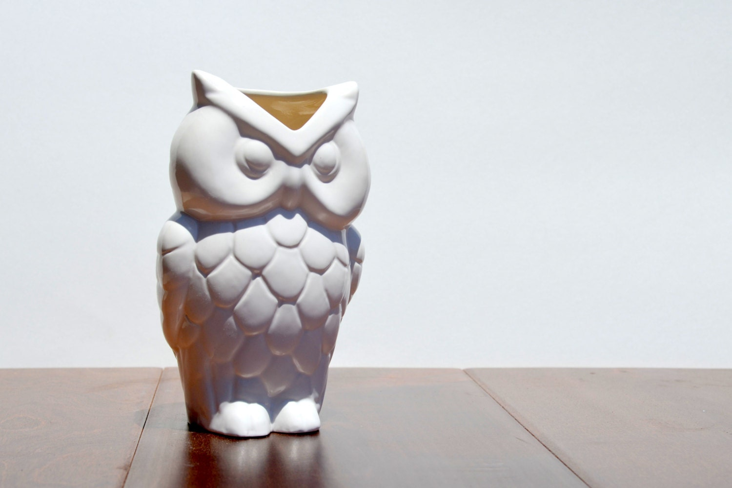 Vintage Ceramic Owl Vase Home Accessories Decor White By