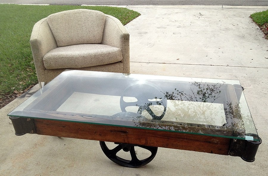 antique factory cart coffee table industrial chic by