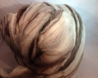 1oz BFL Wool White Brown Wool Spinning Felting Fiber