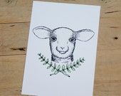 Spring Lamb 5x7 Archival Quality Print Based on Watercolor and Pen Illustration