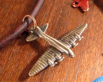 Cast Bronze Vintage Airplane Pendant