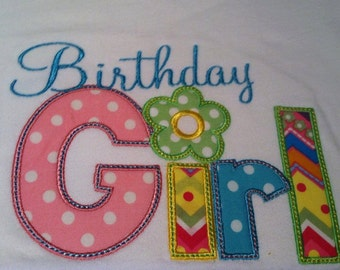 Birthday Girl/Boy Applique and Embroidered T Shirt with Free Personalization