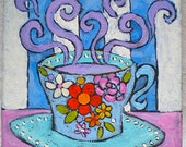 """Coffee, Original Painting, Cup, Flowers, Acrylic Painting, Colorful, Pink, Blue, Home Decor, 6"""" x 6"""" x 1 1/2"""""""