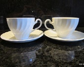2 Vintage Johnson Brothers COFFEE/TEA cups and saucers White Swirl Pattern