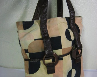 Vintage Marni Printed Canvas Leather Handles Beach Bag Tote Italy