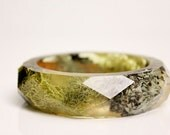 small lichen, moss and birchbark multifaceted eco resin bangle
