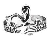 Large Silver Cuff Bracelet - Sterling Silver Bird Bracelet - Sterling Silver Bracelet