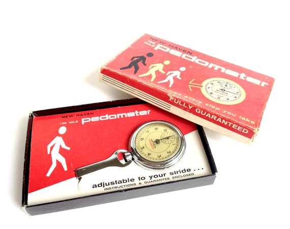 New Haven Vintage Pedometer 230 Chrome Original Box And