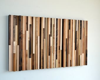 Wood Wall Art - Wood Art - Reclaimed Wood Art - Wall Installation 24X40