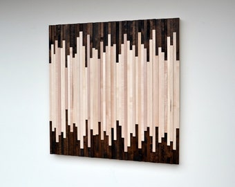 Wood Wall Art - Wood Art Sculpture Reclaimed Wood Art Wall Installation