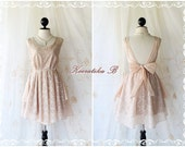 A Party - Cocktail Prom Party Dinner Wedding Bridesmaid Night Dress Light Brown Coffee Color Backless Dress