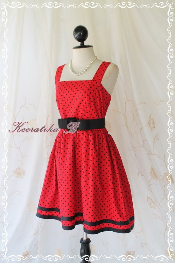Jazzie ll - Classy Vintage Design Tea Dress Red With Petite Black Polka Dot All Over Double Black Stripes Party Tea Time Dress Medium Size