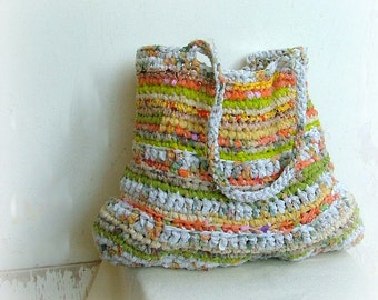 Eco friendly large green and orange rag crochet  fabric and plarn bag with long straps