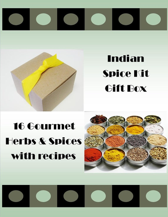 Indian Spice Kit Gift Box - 16 exotic herbs & spices for cooking / unique DIY gourmet gift - includes 4 recipes - FEATURED: PEOPLE Extra