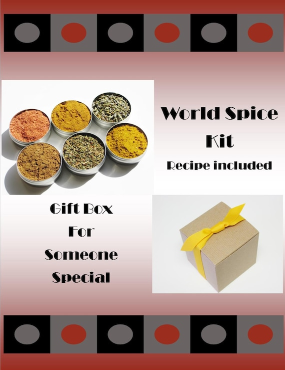 World Spice Kit Gift Box - 6 exotic herbs & spices from around the world - recipe included
