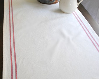 Small Farmhouse Stripe table runner- white with red and blue stripe